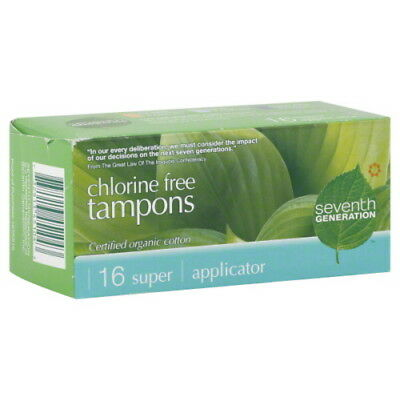 Seventh Generation Chlorine-Free Organic Cotton Super Applicator Tampons - 12 x