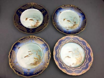 """Four 19th Cnty Limoges Haviland Hand Painted 9"""" Cabinet Plates Signed J. Martin"""