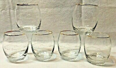 2 Etched Frangelico Rounded Glasses Gold Rimmed 9 Oz