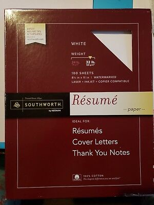 White Resume Stationary Paper, 32lb weight, 4 SHEETS per order!