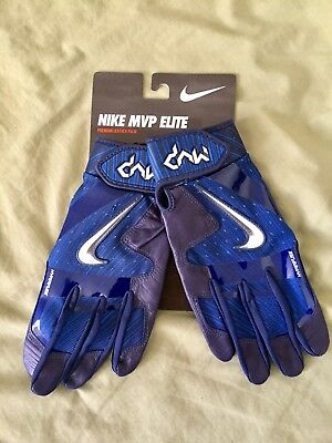 Nike MVP Elite Pro Batting Gloves BLUE Leather Palm GB0413-401 Adult S NEW NWT