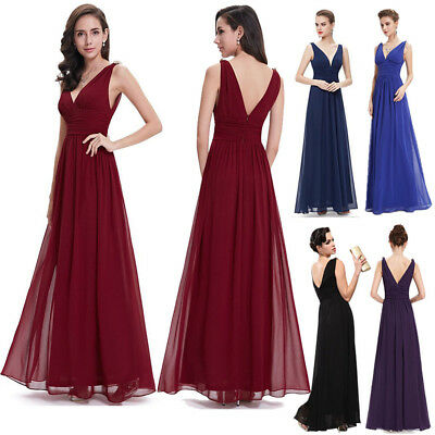 AU Womens Chiffon Backless Long Evening Party Ball Gown Prom Bridesmaids Dress
