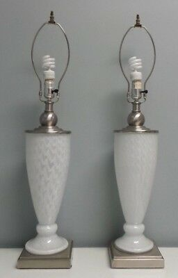 Great Pair of Vintage Mid-Century MURANO, Italy Frosted Pattern Art Glass Lamps