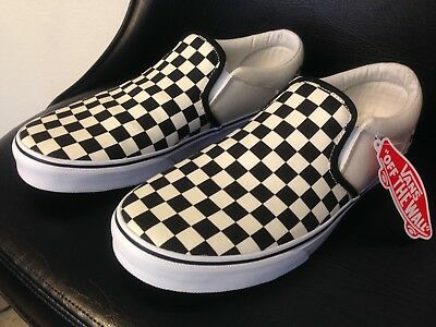 Vans CHECKERBOARD SLIP-ON BLACK OFF WHITE CHECK Canvas Classic Shoes Mens  10.5 f38ac3987