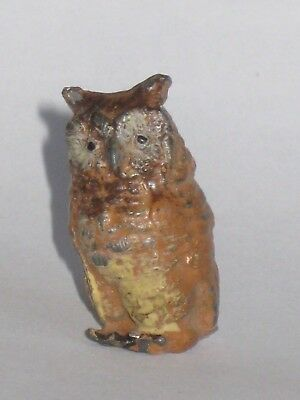 Antique Victorian Cold Painted  Miniature Owl