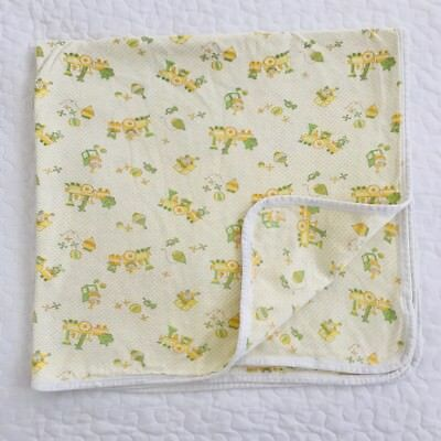 Vtg Carters Yellow Baby Blanket Receiving Jack In Box Train Toy Polka Dot Green