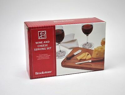 Brookstone Wine Cheese Serving Set Wood Knife Wine Glasses Coasters Gift