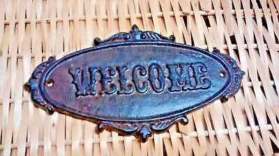 Cast Iron Antique Victorian Style OVAL WELCOME Plaque Sign Wall Decor