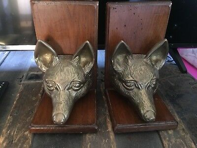 Vintage Pair of Heavy Solid Cast Bronze Fox Wolf Head Metal Bookends