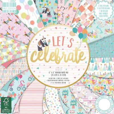 Premium Craft Card First Edition 8x8 Designer Paper Pad - Let's Celebrate