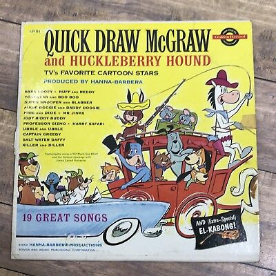 Quick Draw McGraw and Huckleberry Hound LP Vintage Rare 1950s