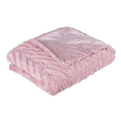 OTTAWA PLUSH THROW ROSE PINK Mink Blankets Sofa Rugs Bedding