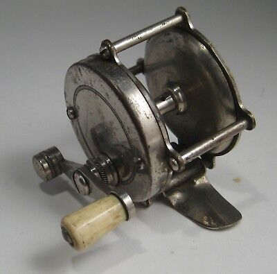 Antique unmarked child's(?) CASTING REEL - NICKEL PLATED and BONE(?) handle