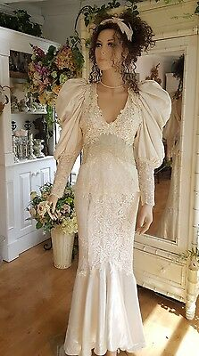 Vintage Wedding dresses 1980s Satin Lace and Beads sz 11/12