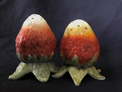 Vintage Figural Strawberry Salt and Pepper Shakers, Ceramic or China, NR