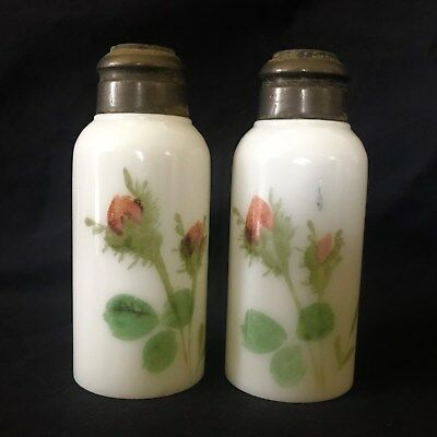 Antique Shakers Mt Washington, Smith Bros, Handpainted Roses on Milkglass NR
