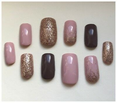 Hand Painted False Nails Square (Or Any Shape) Pink Nude Mocha Bronze Gold UK