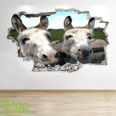 DONKEY WALL STICKER 3D LOOK BEDROOM LOUNGE NATURE ANIMAL WALL DECAL Z872
