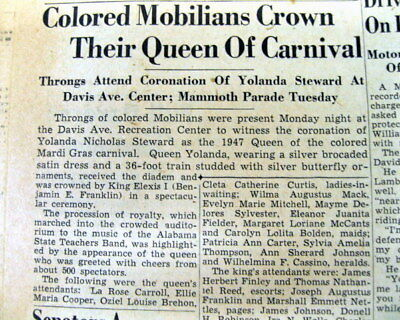 "4 1947 Mobile ALABAMA newspapers wCoverag SEGREGATED ""COLORED"" MARDI GRAS PARADE"