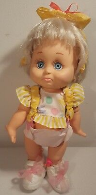 "VTG LGTI 1990 Galoob Baby Face Doll 13"" Tall, POSEABLE  #6 original outfit"