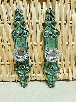 """2 Fancy Crystal knob drawer pull with a Bronze cast iron backing plate 7""""Long"""