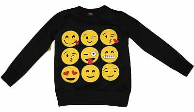 Kids Emoji Jumper Girls Boys Emoticon Smiley Face Sweatshirt Top Age 7-13 New