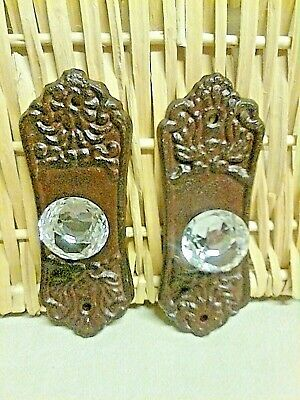 """2  Crystal knob drawer pull with a Brown/ Red cast iron backing plate 5 3/8""""Long"""