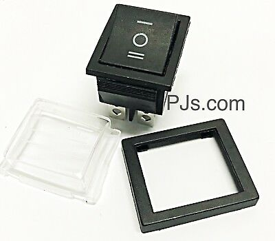 AC 125-250v 16-20A Large Rocker Switch 3 Way Black x 1pc with Waterproof Cover