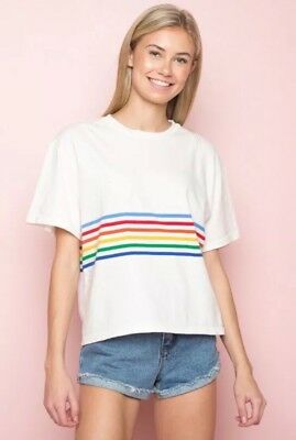 3d64cbabe38c0 New! Brandy Melville White striped cotton crewneck aleena rainbow top Shirt  NWOT