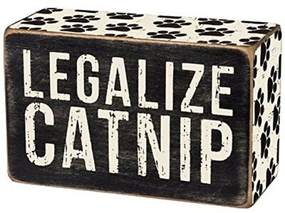 """Primitives By Kathy 4"""" x 2 1/2"""" Wood Wooden BOX SIGN """"Legalize Catnip"""""""