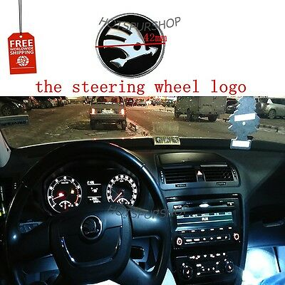 NEW-Car-logo-emblem-steering-wheel-stickers-Skoda-Fabia-Octavia-A5-Rapid-Superb