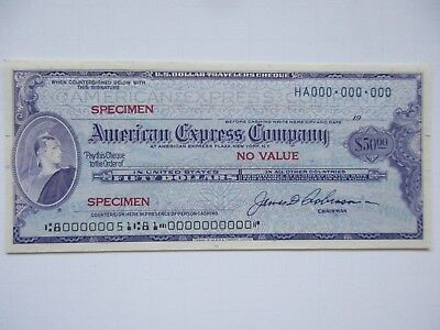 American Express $50 Travelers Cheque Specimen Uncirculated