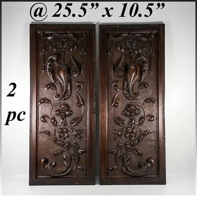 "PAIR Antique Victorian 25x10"" Carved Wood Architectural Furniture Door Panels"