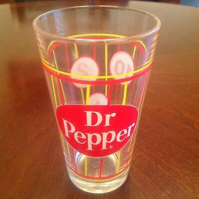 Vintage Style Dr. Pepper Candy Stripe Pub Beer Soda Glass Old Design