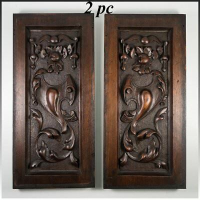 "PAIR Antique Victorian 13.75"" x 6.5"" Carved  Architectural Furniture Door Panels"