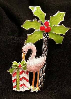 Pink Flamingo Christmas Enamel Pin Brooch NEW Jewelry Palm Tree Gift Glittery