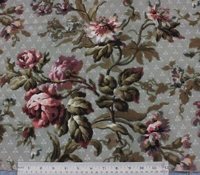 Antique French Hand Blocked Climbing Roses Home Cotton Fabric Sample c1860