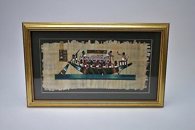 "Vintage Egyptian Art Painting Boat Ark Papyrus Paper Framed Gold 23.25"" x 14.25"""