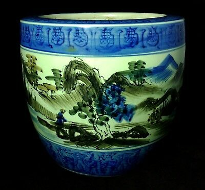 Antique Signed Hand Painted Asian Fish Bowl Planter Chinese Japanese Ceramics