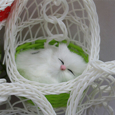 Mini Cute Simulation Animal Sounding Toys Basket Artificial Kitten Plush Dolls