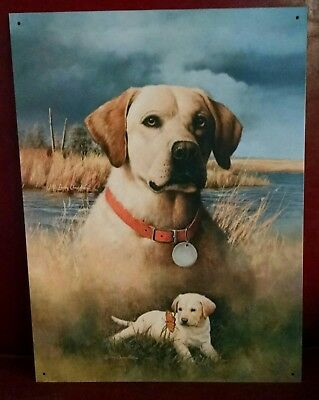 Yellow Labrador Retriever w puppy + butterfly Larry Chandler print on metal sign