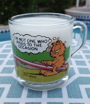 "Vintage McDonalds Garfield 1980's ""Rises to the Occasion"" Glass Mug"