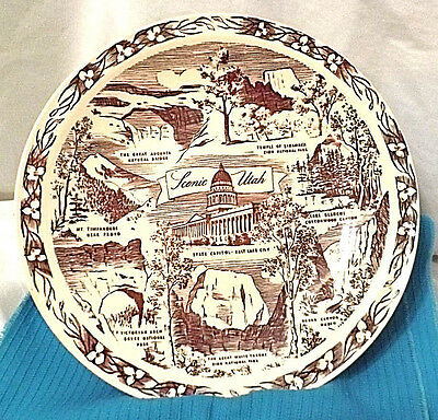 Utah Decorative Collector Plate by Vernon Kilns The BeeHive State  10 1/4""