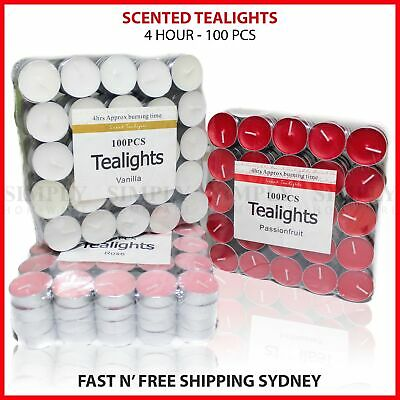 Scented Tea Light Bulk Tealight Candles 4 Hour Hours Burn Scent - 100pcs