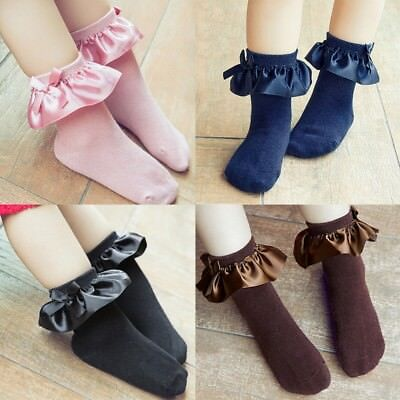 US Infant Baby Kids Girl Lace Bow Ruffle Socks Toddler Soft Cotton Ankle Socks
