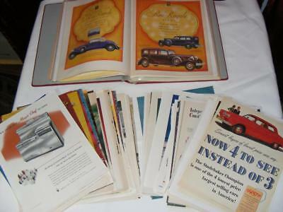 VTG Large Lot of Automobile Auto Car Truck Magazine Ad Clippings Loose & Binder