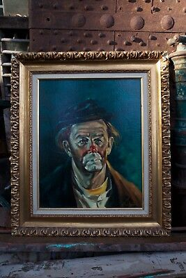 "Allan Husberg Oil On Canvas Clown Painting Original, Signed By Artist 23"" by 27"""