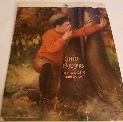 Vintage Ohio Farmers Insurance By American Lithographic Co. Leroy, Ohio