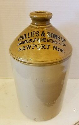 PHILLIPS & Sons BREWERS and WINE MERCHANTS Newport Monmouthshire Wales CROCK JUG