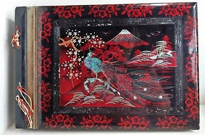 Late 1940's Japanese Photo Album, Lacquered Wood, Mother of Pearl Inlay (7103)
